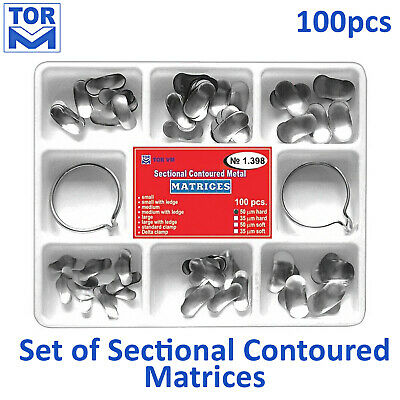 Dental Sectional Contoured Matrices - Full Matrix Kit 100pcs + 2 rings