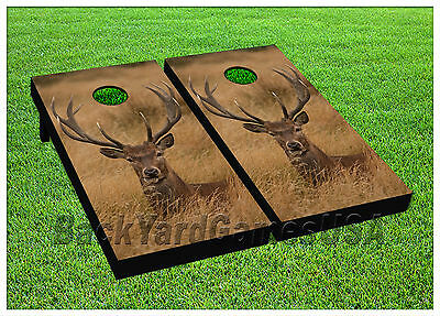 CORNHOLE BEANBAG TOSS GAME w Bags Game Boards Deer Laying in Grass Set 1082