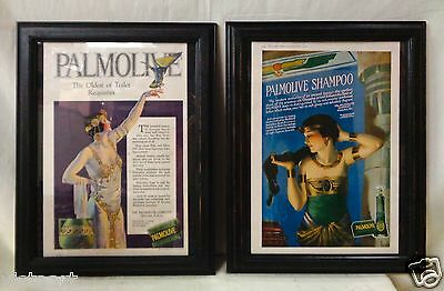 "Pair of Ancient Luxury ""Palmolive Shampoo"" Prints w. Black Vintage Style Frames"