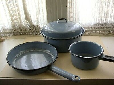 Vintage, 4-pc French Blue Enamelware Cookware Set