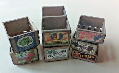 Dollhouse Miniature 1:12 set 7 handcrafted wood aged crates vintage labels.