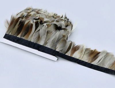 Natural Coloured Mallard feathers on fringe/ribbon/trim(price for 30cm)for craft