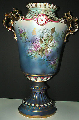 "BREATHTAKING large 19 1/2"" tall Royal Bonn German porcelain vase or urn NO CHIPS"