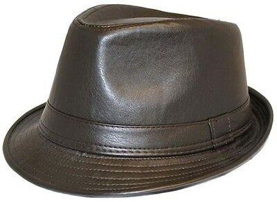 Express Hats Unisex Trilby Hat Leather Look Vintage 2 Colours Fast Post 1stClass
