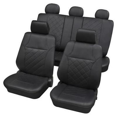 Black Leatherette Luxury Car Seat Cover set - For Renault 19 Mk II 1991 to 1995