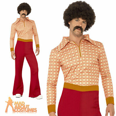 Adult Authentic 70s Guy Disco Flares Fancy Dress Costume Outfit New