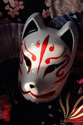 Full Face Hand-Painted Japanese Fox Mask Kitsune Cosplay Masquerade Halloween