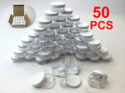 50 Pieces 5 Grams Cosmetic Empty Sample Small Containers Jar Makeup Lip Balm 5ml