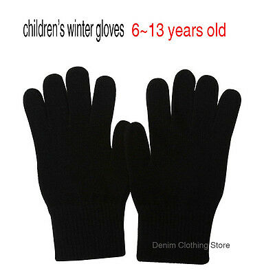 Wholesale Lot Kids Children Plain Solid Black Winter Magic Gloves Warm Knitted