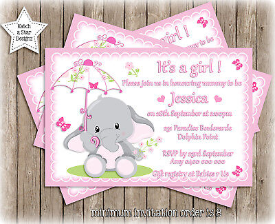 ELEPHANT PINK GIRLS BABY SHOWER PARTY PERSONALISED INVITATION x 1