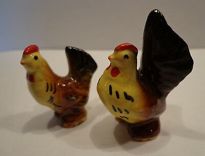 VINTAGE Lot of 2 Miniature Figurine 2 Chickens Brown made in Japan Ceramic Glass
