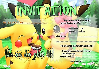 5 ou 12 cartes invitation anniversaire POKEMON ref 289