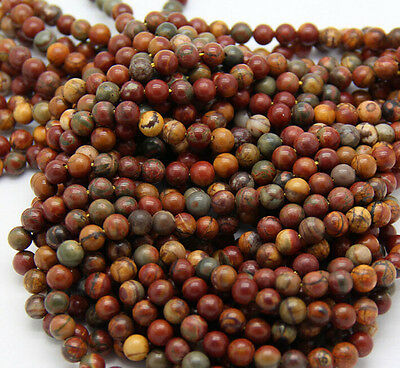 Wholesale Natural Picasso Round Gemstone Loose Spacer Beads Stone 4/6/8/10/12mm