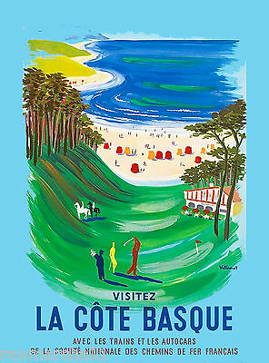 La Cote Basque Spain Spanish France Vintage Travel Advertisement Art Poster