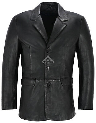 Men's Leather Blazer Black Classic Italian Tailored Soft Real Leather Slim Jim