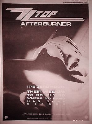 "ZZ TOP - AFTERBURNER, UK 15"" x 11"" ADVERT/AD 1985"