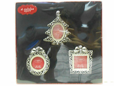 KOHLS  ORNAMENT PICTURE FRAMES SET OF 3--Metal with Rhinestones