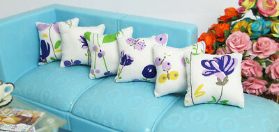 6 PCS Flower Butterfly White Pillow For Sofa Couch Bed 1//12 Dollhouse Miniature