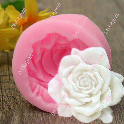 3D Rose Flower Silicone Chocolate Fondant Cake Candle Soap Molds Moulds Pink PAT