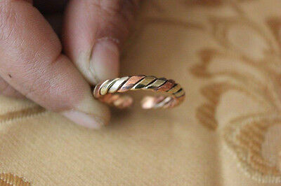2 PCS Tibetan 3-color Copper Delicately Braided Amulet Adjustable Ring (16000239