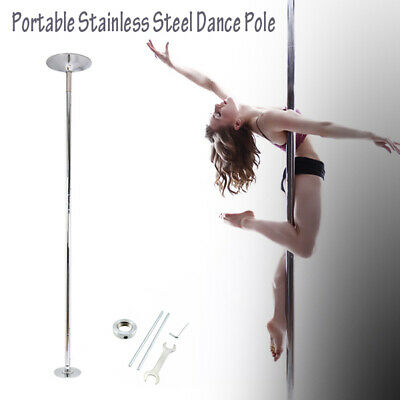 45mm Stainless Steel dance Pole Dancing Kit Portable Fitness Spinning Static.