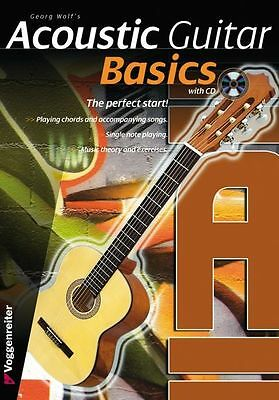 Georg Wolf Acoustic Guitar Basics Learn to Play EASY BEGINNER Music Book & CD