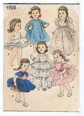 """4908 Vintage Chubby Doll Pattern - Size 17"""" - Year 1955"""