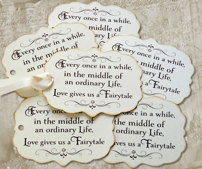 Hang Tags LOVE GIVES US A FAIRYTALE WEDDING FAVOR or WISH TAGS #680  Gift Tags