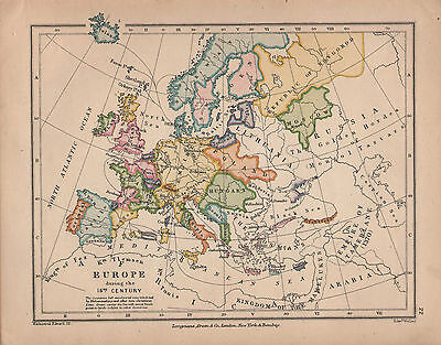 1899 VICTORIAN HISTORICAL DOUBLE SIDED MAP ~ EUROPE 15th CENTURY ~ UNIVERSITIES