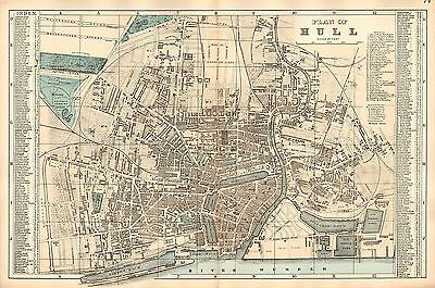 1881 HAND COLOURED MAP ~ PLAN OF HULL WITH PUBLIC BUILDINGS CHURCHES BANK etc
