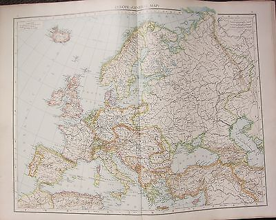 1895 LARGE VICTORIAN MAP ~ EUROPE GENERAL MAP ~ BRITISH ISLES FRANCE GERMANY etc
