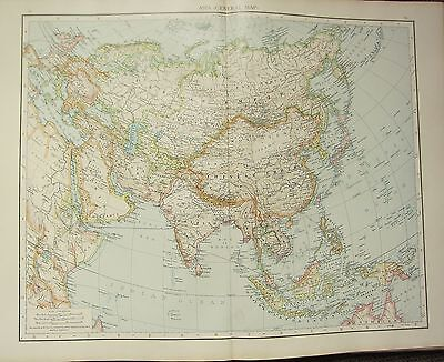 1895 Large Victorian Map ~ Asia General Map India Chinese Empire Mongolia Japan