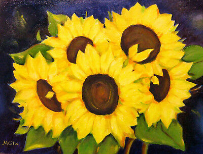 """Sunflowers  Flowers Original  Oil Painting Yellow  Wall Art  11 """"x 14"""" Signed"""