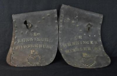 Antique Pair of Leather Horse Pads w/Unusual Brass Adornments Middleburg, Pa.