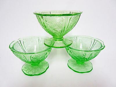 3 Green Cherry Blossom Footed Sherbets  / Jeannette Glass Co / Vintage