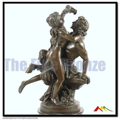SIGNED C.Michel, bronze sculpture Bacchante and Satyr