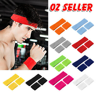 A pair Wristbands + Headband Sweatbands Sweat Band for Sport Tennis Badminton