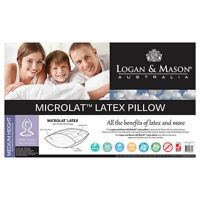 Logan and Mason Microlat Latex Pillow - Washable, Non-Allergenic, Quilted Cover
