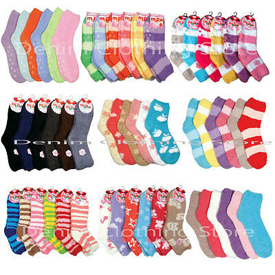 Wholesale Lot Solid Stripes Plain Cozy Fuzzy  Slipper And Non Skid Winter Socks