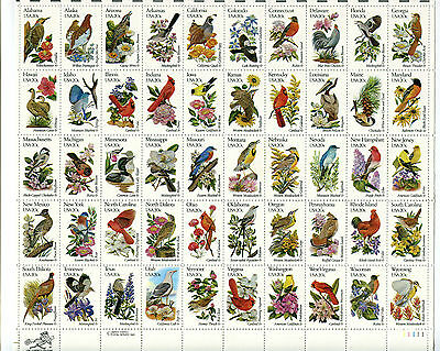 1982 USA.  State Birds and Flowers.  Se-tenant sheet of 50 MUH.  SG 1930/1979.