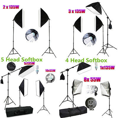 Photography Studio Softbox Continuous Video Lighting Light Boom Arm Stand Kit