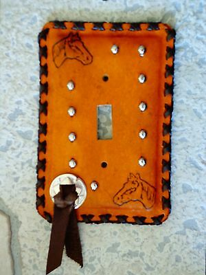 Horse Lovers - Handmade Leather Light Switch Plate - Fancy