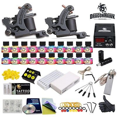 Tattoo Kit 2 Machine Gun 20 USA Color Ink Needle Power Supply Set Tip HW-10WED-6