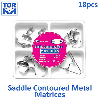Dental Saddle Contoured Metal Matrices - 18pcs kit + Springclip