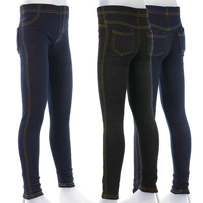 Thermo Leggings Winterleggings Jeans Optik Mädchen Hose Joggings Fleece CH-40