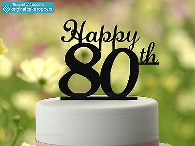 """""""Happy 80th"""" - Black - 80th Birthday Cake Topper - Made by OriginalCakeToppers"""