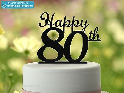 """Happy 80th"" - Black - 80th Birthday Cake Topper - Made by OriginalCakeToppers"