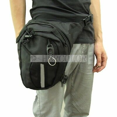 Motorcycle Scooter Drop Leg Waist Bag Pack Key Chain / Reflective Tape New