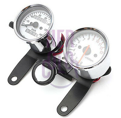 New Universal Motorcycle Tachometer and Odometer Speedometer Gauge with Bracket