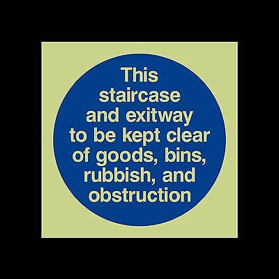 This staircase and exit way to be - Photoluminescent Sign / Sticker 100x100mm
